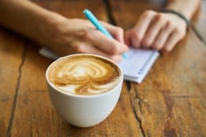 drinking coffee while studying