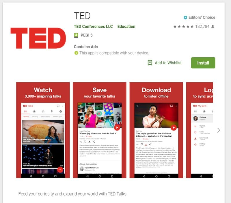 ted app for students